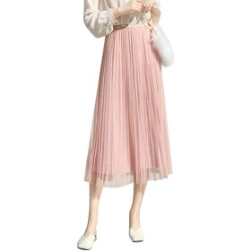 Jocolate(ジョコレート) チュールスカート ロング スパンコール レディース プリーツスカート チュール ミモレ丈 裏地付き ロングスカート ハイウエスト きれい目