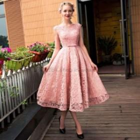 ウェディングドレス NEW到着フォーマルパーティーイブニングドレスレースアップショートロングウエディングドレスレースピンク