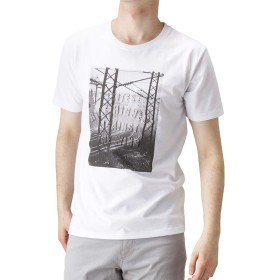 Navy(ネイビー) プリントクルーネックTシャツ 半袖Tシャツ プリントTシャツ EJ193-MC160 メンズ ホワイト:M