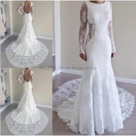 ウェディングドレス/ステージ衣装 ヴィンテージレースアップリケメイドのウェディングドレスバックレスロングスリーブブライダルドレス