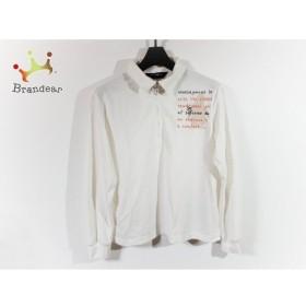 マンシングウェア 長袖ポロシャツ サイズL レディース 美品 アイボリー×ベージュ×マルチ 新着 20190723