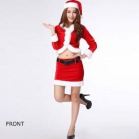 レディース コスチューム サンタクロース ツーピース セクシー へそ出し 長袖 ベルト付きミニスカート イベント 本格派 公演