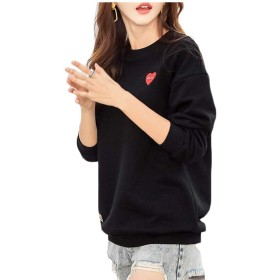 maweisong 女性のクルーネックスウェットシャツカジュアル快適な長い袖のルーストップ black S