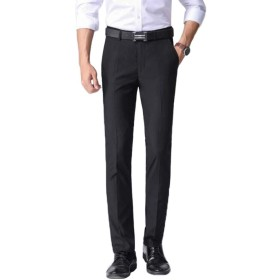 [えみり] メンズ スラックス ビジネスパンツ ロングパンツ スーツパンツ 仕事 スリム 紳士 ストレート 薄手 ノーアイロン オールシーズン 上品 通勤 美脚 大きいサイズ ブラック40