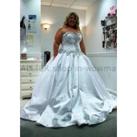 ウェディングドレス カスタムビーズの花嫁衣装クリスタルラインのウェディングドレスプラスサイズ