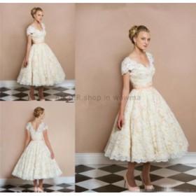 ウェディングドレス ヴィンテージAラインVネックキャップスリーブレースウェディングドレスガーデンブライダルドレス