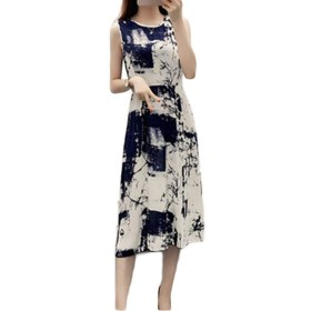 ZhongJue(ジュージェン)シフォンワンピース レディース スリム ロングワンピース ノースリーブ 花柄 ファッション マキシワンピース 快適 クルーネック ワンピース おしゃれ 大きいサイズ ボヘミアン風 夏(4H)