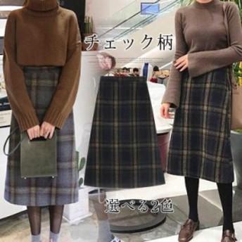 ロングスカートチェック柄大人気大活躍ボトムスマキシ丈Aラインスカート