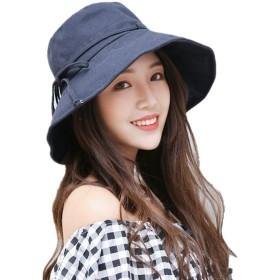 UVカット 帽子 レディース ハット 日よけ つば広 折りたたみ 紫外線対策 カジュアル 旅行用 夏 取り外すあご紐 軽量 洗える 日焼け防止 小顔効果抜群 (ネイビー)