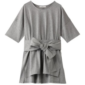 Julier ジュリエ コットントリコットベルト付きTシャツ トップグレー