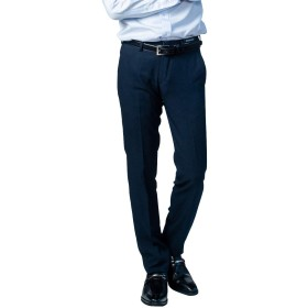 [Richard&Neil] スラックス メンズ 超スリムフィット ビジネス 洗える ノータック ネイビー バーズアイ [1314-2/ウエスト76cm]