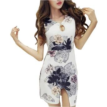 [ネモフィオール] ミニ ワンピース きゃば ドレス チャイナドレス セクシー 花柄 レディース ホワイト L