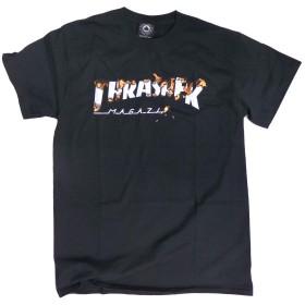 THRASHER Tシャツ 半袖 スラッシャー Tシャツ 半袖 INTRO BURNER TEE (Lサイズ, ブラック)