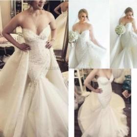 ウェディングドレス/ステージ衣装 ホワイト/アイボリーのマーメイド取り外し可能なトレーンのウェディングドレス3D花のチュールの花嫁衣