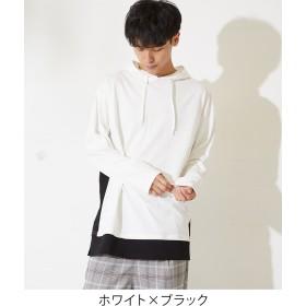 Tシャツ - improves フード パーカー ビッグTシャツ メンズ レディース 長袖 ビッグシルエット オーバーサイズ Tシャツ ロンT ロング丈 カットソーロンティー ロングTシャツ 長袖Tシャツ ビッグサイズ ホワイト ブラック 白 黒 ストリート系 メンズファッション
