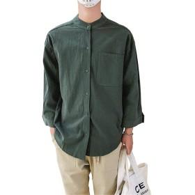 [LINGLU] メンズ シャツ 白 绵麻 七分袖 大きいサイズ 紳士服 ゆったりブラウス コットン シンプル 和風 トップス リネン 夏服 ハンサム カジュアル ビジネス 通勤 ワイシャツ 立ち襟 ジャケット モスグリーン 2XL