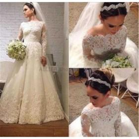 ウェディングドレス/ステージ衣装 ゴージャスなレースアップリケロングスリーブウエディングドレスAラインホワイト/アイボリーの花嫁衣装