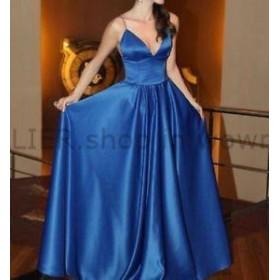 ウェディングドレス ホットセクシーなロイヤルブルースパゲッティサテンイブニングドレスパーティー公式フォーマルガウン