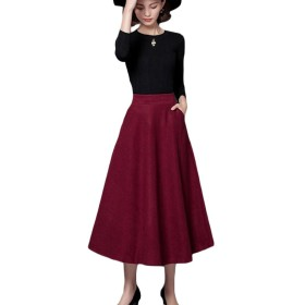 VITryst Womens Oversize Winter Hi-waist Woolen Fall Slim Casual Wool Maxi Mid Long Mid Pencil Skirt Wine Red XS