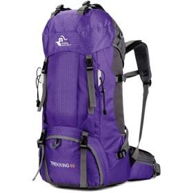 バックパック 多機能 登山 リュック 60L 大容量 登山用バッグ 軽量 高通気性 リュックサック 山登り 泊旅行 海外旅行 防災 ハイキング レインカバー付き (紫)