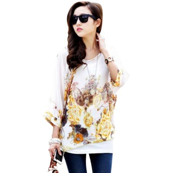 Casual Women Top Summer Short Sleeve Blouse Loose Round Collar Bat Sleeve Batwing T-Shirt Floral Printing Bohemian Blouse Shirt (04)