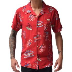 ジョーカーセレクト(JOKER Select)メンズ 半袖 アロハシャツ オープンカラー シャツ 開襟シャツ M E柄レッド
