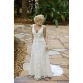 ウェディングドレス/ステージ衣装 NEWVネックレースチュールAラインブライダルドレスホワイトアイボリースイープトレーンウェディングド