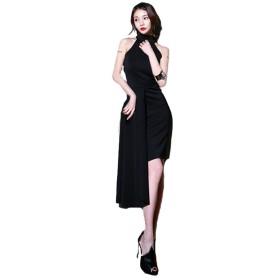[KimBerley] ワンピース ノースリーブ ミニ M 黒 アシメントリー ホルターネック ミモレ丈 美脚 フォーマル セクシー ドレス