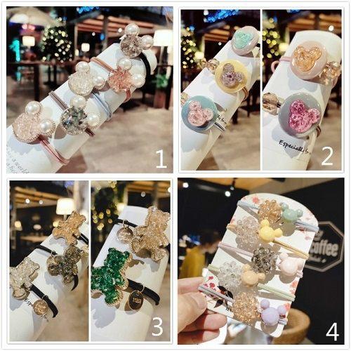 【NiNi Me】韓系髮飾 5色一組氣質甜美可愛珍珠水晶髮束 髮束 H9498