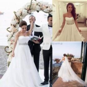 ウェディングドレス/ステージ衣装 ホワイト/アイボリーオーガンジーAラインウェディングドレスビーチブライダルドレスカスタムメイド