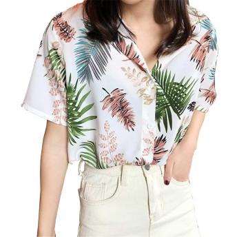 [LINGLU] ハワイシャツ レディース アロハシャツ 葉 プリント 半袖 トップス カジュアル レディース シャツ 大きいサイズ アロハシャツ 花柄 ファッション リゾート ビーチ カップル 写真通り F