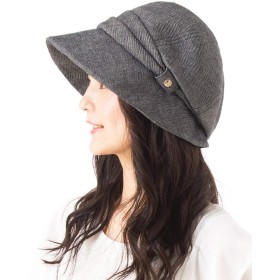 クイーンヘッド UVカット シャーリングキャスケット 帽子 レディース 大きいサイズ つば広 小顔 ハット 日よけ 紫外線カット【フリー56-58.5cm-ブラック】