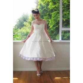 ウェディングドレス ショートシアーネックキャップスリーブウェディングドレスティーレングス花嫁衣装ジッパーバック