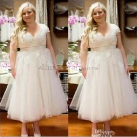 ウェディングドレス/ステージ衣装 ティーレングスショートレースチュールウェディングドレスホワイト/アイボリーNEWブライダルドレス