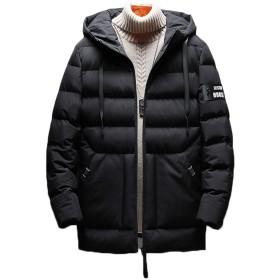 HAPPYJP 厚手 中綿ジャケット メンズ 防寒 コート アウター 冬 中綿コート 無地 M~5L (ブラック, 5XL(日本の4L相当))