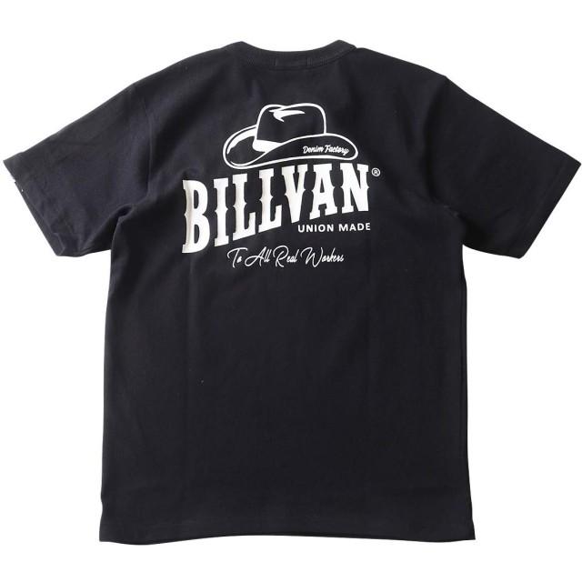 (ビルバン)BILLVAN Tシャツ BILLVAN DENIM FACTORY HAT柄 バックプリント ヘビーTシャツ M ブラック