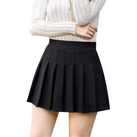 [チューカー] レディース ミニスカート ラシャ生地 プリーツスカート ハイウエスト 台形スカート キュロットスカート インナーパンツ付き Aライン 美脚見せ フェミニン お呼ばれ ブラックL