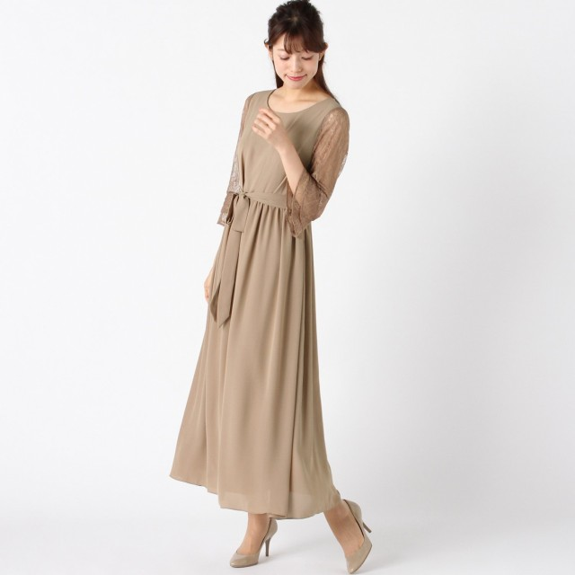 袖レースシフォンワンピースドレス【フォーマルにも◎】【M~3L】