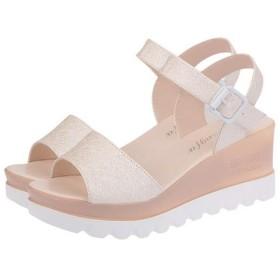 SHUNYIレレディース サンダル シンプル マドレーヌ 厚底靴 ハイヒール ウェッジヒール サンダル ファッション 夏ベージュ25.0cm
