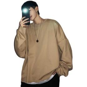MLboss長袖 トレーナー メンズ クルーネック トップス プルオーバー カットソー オーバーサイズ コットン カットソー ストリート系 韓国ファッション(Rカーキ)