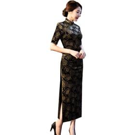 (上海物語)Shanghai Story 半袖 チャイナボタン チャイナ服 花柄 人造 シルク チャイナドレス レディース ワンピース 中国風 チーパオ 女性 中華ドレス 民族衣装 ロング丈 民国ドレス 4XL ブラック