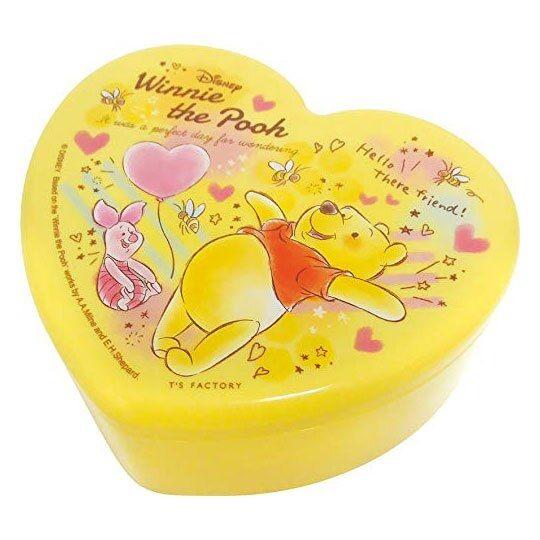 〔小禮堂〕迪士尼 小熊維尼 愛心造型塑膠掀蓋收納盒附鏡《黃.汽球》飾品盒.珠寶盒 4548626-09873