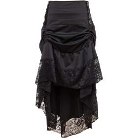 Candiyer レディースレースパッチワークゴシックパンク不規則Aラインスカート Black XL