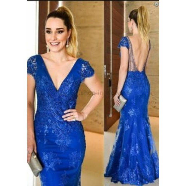 ウェディングドレス セクシーなロイヤルブルーオープンバックキャップスリーブレースロングイブニングプロフォーマルドレスドレス