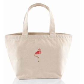 [X-CLOTHES] ミニトートバッグ ランチバッグ ワンポイント 刺繍 グッズ レディース キャンバス Free フラミンゴ ホワイト