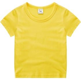 「Bidear」子供服 女の子 男の子 Tシャツ ロンT キッズ ベビー 丸くび 薄手 体操着 春夏秋 100%綿製品 7色 90~140cm (110 推薦身長:103-112cm, 半袖T(イエロー))
