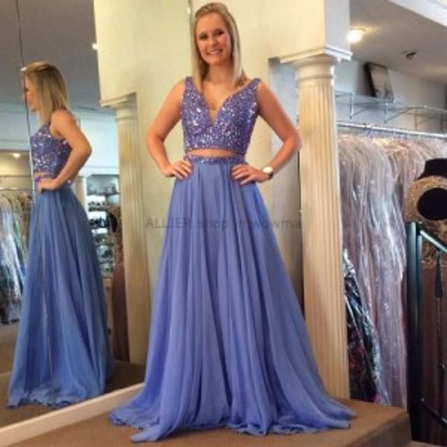 ウェディングドレス ツーピースラベンダーロングウエディングドレスVネックスパークリングイブニングウエディングドレス