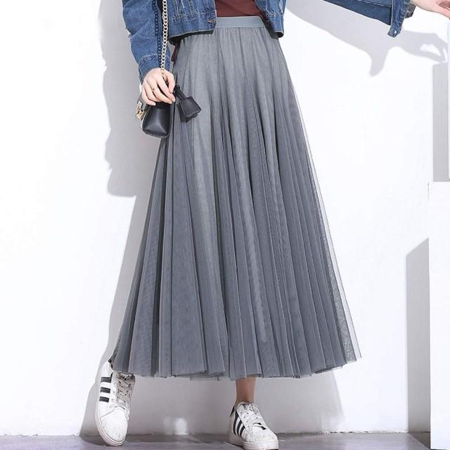 レディース チュールスカート レース ボリューム  Aライン ロングスカート ふんわり 透け感 9色