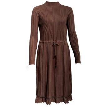 [コウエイストア]koeistore ワンピース ニットドレス リブ編み 裾レース切り替え 厚手 ロング丈 長袖 レディース ブラウン Y5401-bn