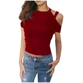 WE&energy 女性スリングプラスサイズヴォーグショルダーオフニット作物ティーブラウス Red M